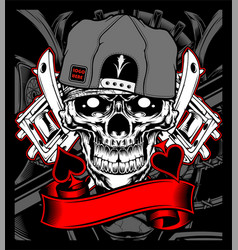 skull wearing cap with tattoo machine vector image