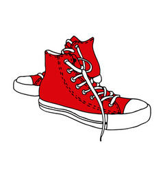 Sneakers sketch hand drawn active shoes drawing vector