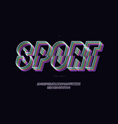 sport font neon line style vector image