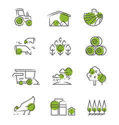 Thin line farm icons set vector