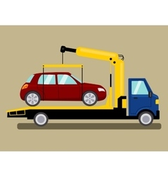 Tow truck takes away car cartoon vector image