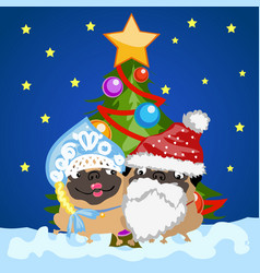 two pug dogs in christmas costumes santa claus and vector image