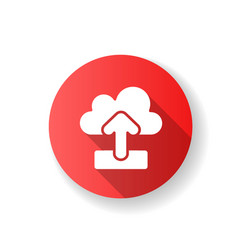 Upload red flat design long shadow glyph icon vector