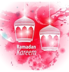 Watercolor pink blob Ramadan kareem vector