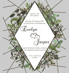 wedding floral invite card green forest leaf vector image