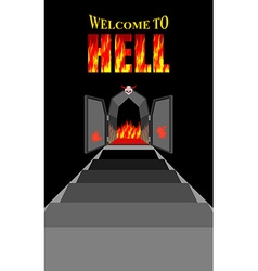 Welcome to hell Stairway to hell Iron black gates vector image