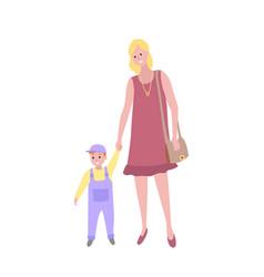 Woman walking with bason toddler kid and mom vector