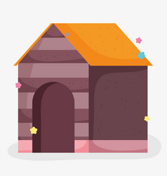 wooden house pet domestic cartoon animal pets vector image