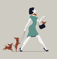 young woman walking dogs fashionista with dogs vector image