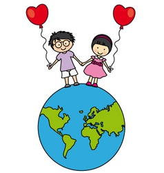 Children walking on the globe vector image