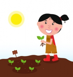 gardening girl in red boots vector image