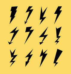 lightning icon set electricity thunder danger vector image