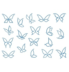 Set of butterfly silhouettes vector image