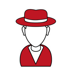 Silhouette in red and white of cartoon half body vector