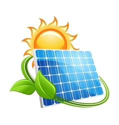 Solar panel and sun icon vector image vector image