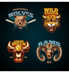 Sports labels with heads of animals wolf vector