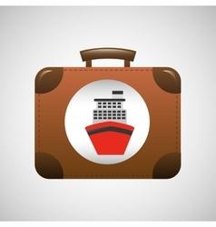 suitcase vintage travel cruise ship concept design vector image