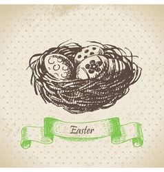 Vintage background with Easter eggs and nest vector image vector image