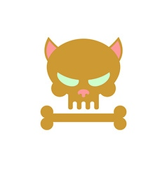 Cat skull with bones Head skeleton of a kitty Logo vector image vector image