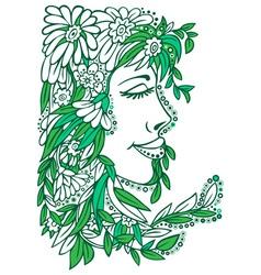 floral ornament woman vector image