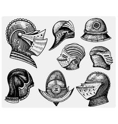 set of medieval symbols battle helmets for knights vector image