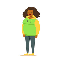 young black woman in a hoodie with curly hair vector image vector image