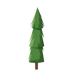 cartoon pine tree trunk nature icon vector image vector image