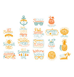 hand drawn elements for summer calligraphic logo vector image