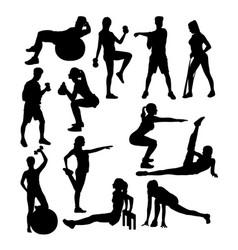 elegant women silhouette doing fitness exercise vector image vector image