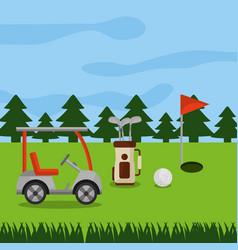 golf course car sport bag clubs ball hole flag vector image