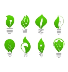 Save energy light bulb icons with green leaves vector image vector image