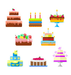 set of cakes with fruit and candles to the vector image