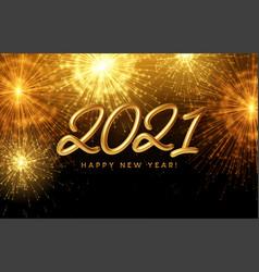 2021 happy new year golden shiny inscription vector image