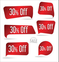 30 percent off red sticker collection vector image