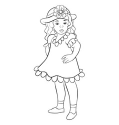 a coloring bookpage a little girl with a hat vector image