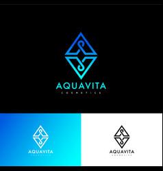 a v logo aqua vita letters monogram blue lines vector image