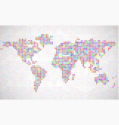 abstract world map from colorful dots vector image