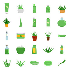 aloe vera plant logo icons set flat style vector image