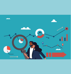 Analytics team with charts and magnifying glass vector