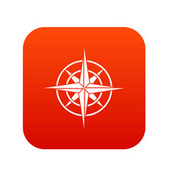 Ancient compass icon digital red vector