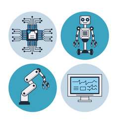 artificial intelligence round icons vector image