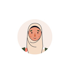 Avatar or portrait muslim arab woman character vector