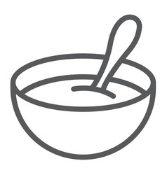 Baby cereal line icon food and eat vector