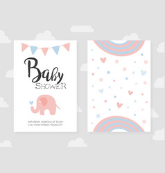 bashower invitation card template in pasterl vector image