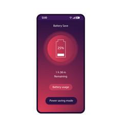 Battery saver app smartphone interface template vector