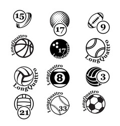black sport balls set silhouettes vector image