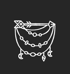 Boho accessory with arrow chalk white icon on vector