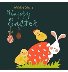 Bunnychicken and easter egg vector image