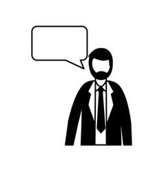 business man speech bubble talk vector image