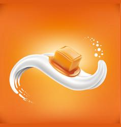 Caramel candy lying on milk tongue vector